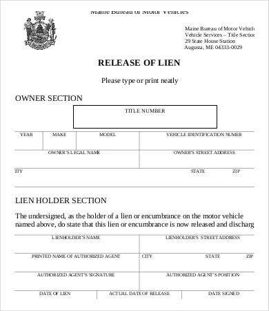form release Vehicle lien