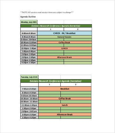research conference agenda template
