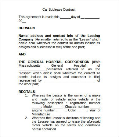 sublease contract template 9 free word pdf documents With vehicle sublease agreement template