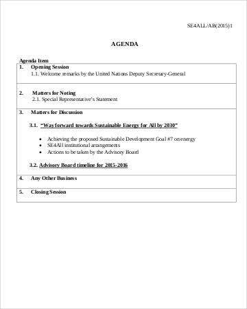 Advisory Board Agenda Template