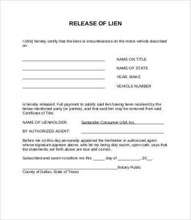 Lien Release Form Mortgage Lien Release Form Sample Lien Release