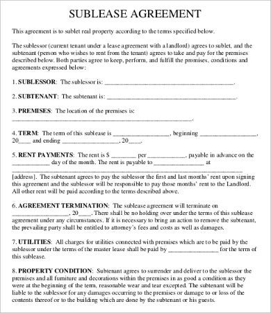 Sublease contract template 9 free word pdf documents for Subletting lease agreement template