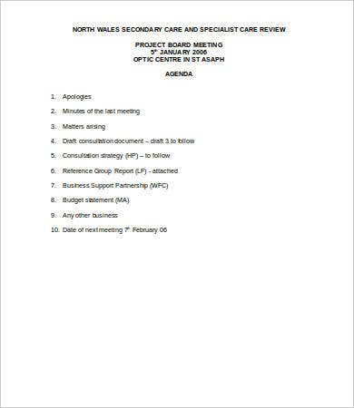 Project Board Meeting Agenda Template