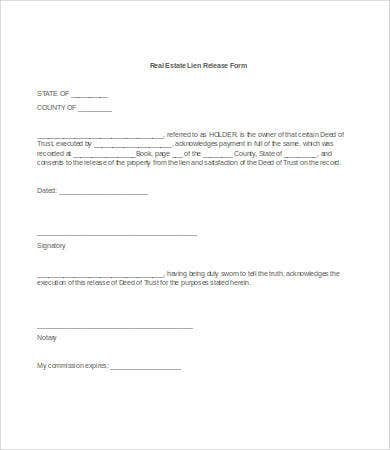 real estate lien release form