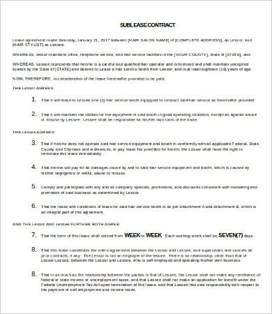 Sublease Contract Template   Free Word Pdf Documents Download