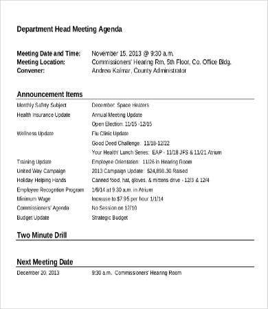Department Head Meeting Agenda Template