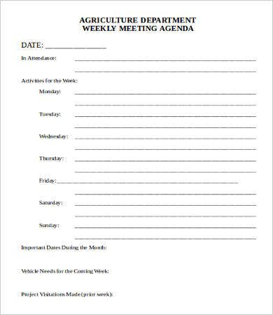 Department meeting agenda template 9 free word pdf for Weekly meeting minutes template