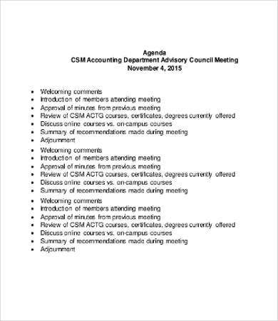 accounting department meeting agenda template