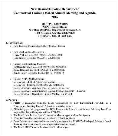 training department meeting agenda template