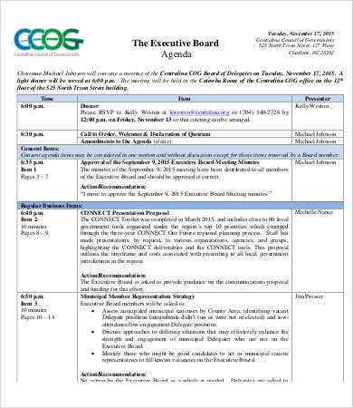 Executive Board Agenda Template