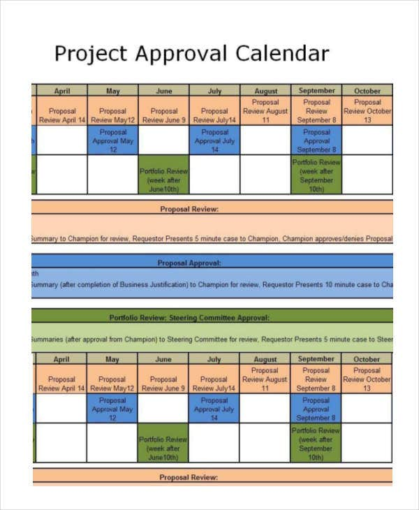 project approval calendar template