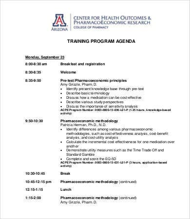 training program agenda template