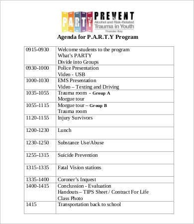 party program agenda template