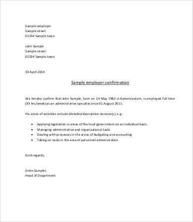 confirmation of employment letter