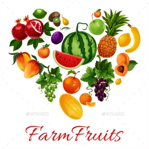 Farm Fruit Icons Set