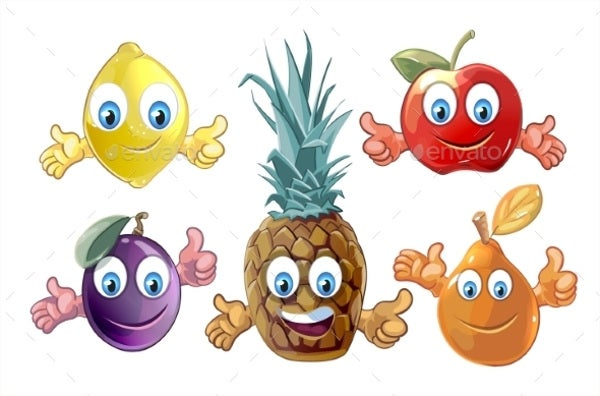 Funny Cartoon Fruit Icons