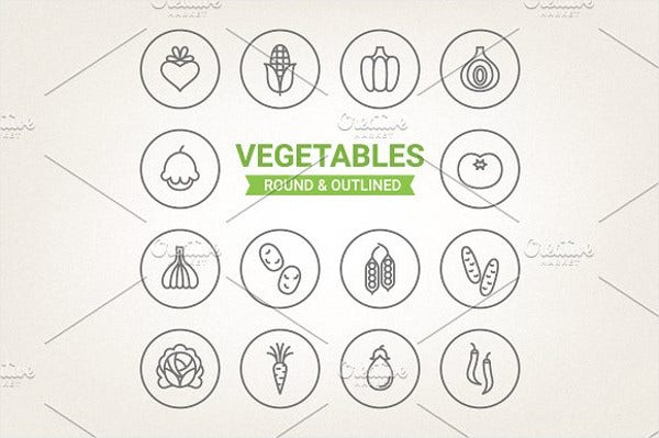 circle vegetable icons