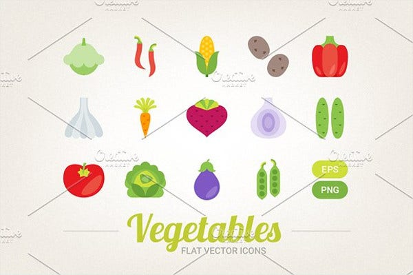 Flat Vegetable Icons