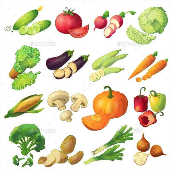 Fresh Vegetable Icons