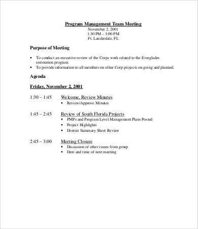 program management meeting agenda template