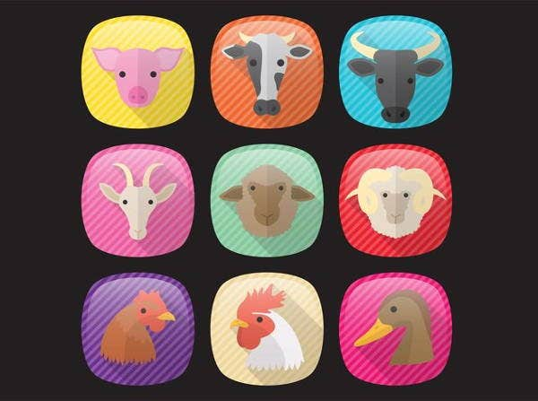 farm-animal-icons-set