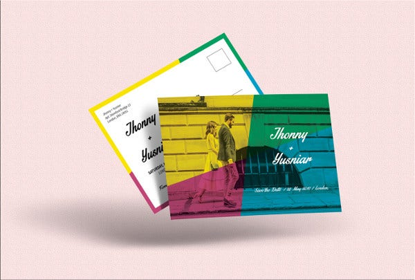 colorful postcard invitation
