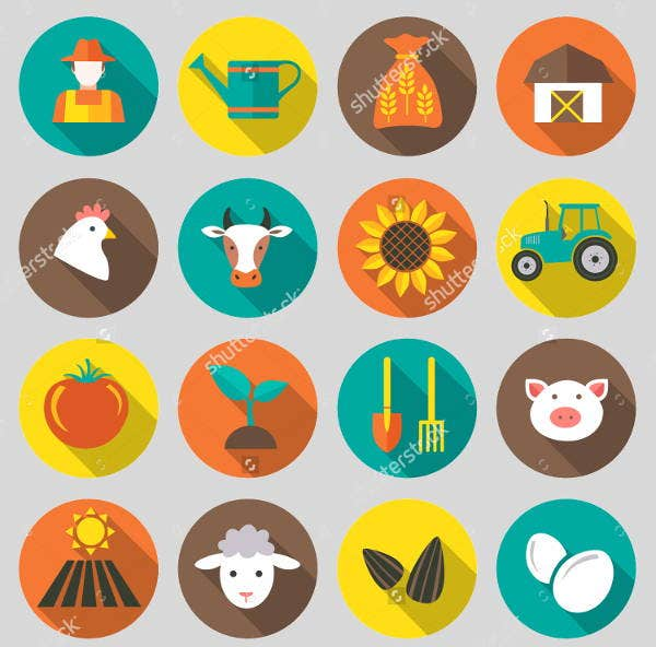 Farm Harvesting and Agriculture Icons