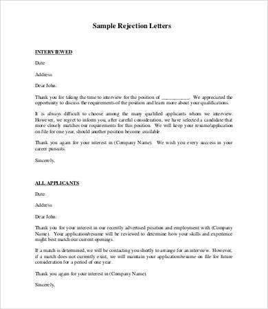 employment rejection letter1
