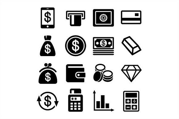 Money and Bank Icons Set