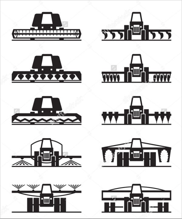 Agriculture Machine Icons Set