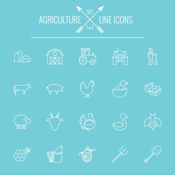 Agriculture Outlined Icons