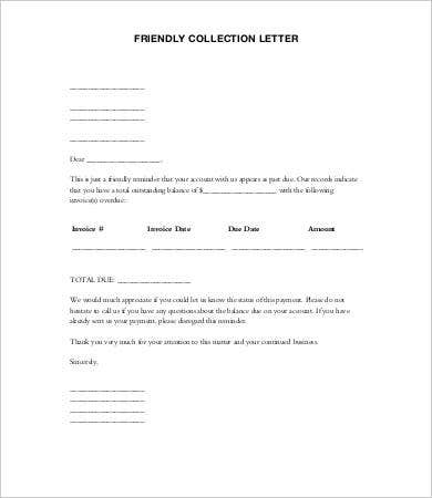 collection letters templates