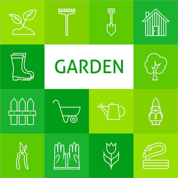 Gardening Line Icons Set