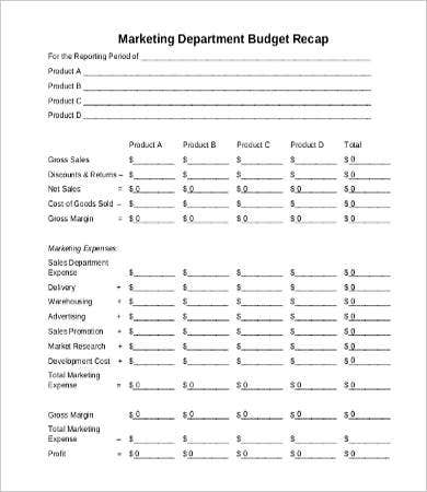 Marketing Department Budget Template