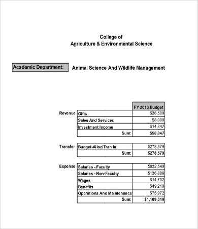 College Department Budget Template