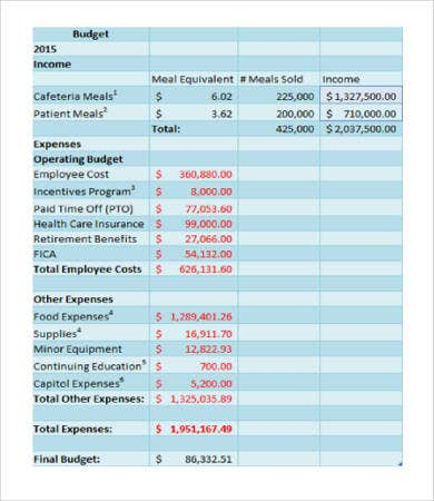 Hospital Department Budget Template