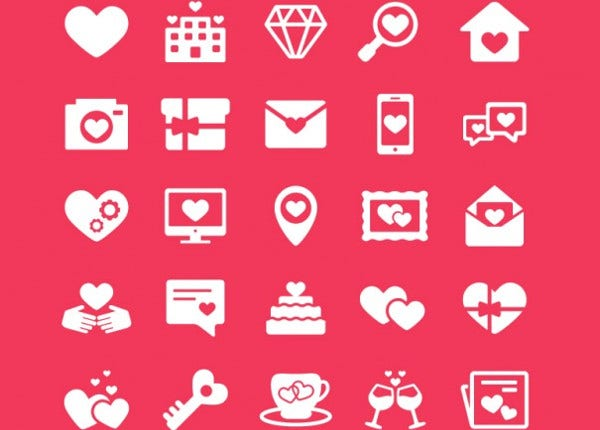 valentines day icons free vector