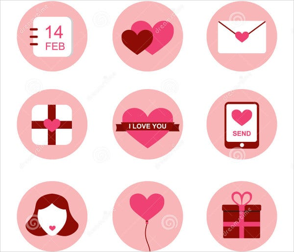 Flat Design Valentines Day Icons Set