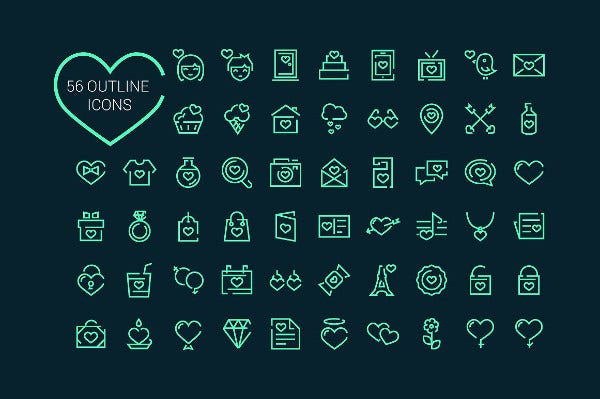 56 love valentines day icons