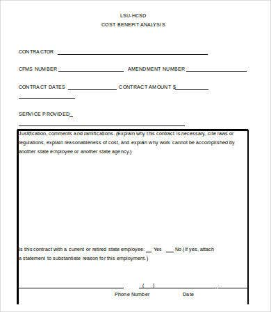 Cost Benefit Analysis Form