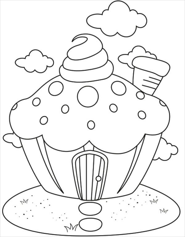 Valentine'S Day Cupcake Colouring Page