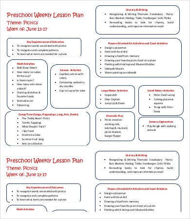 Preschool Weekly Lesson Plan Template