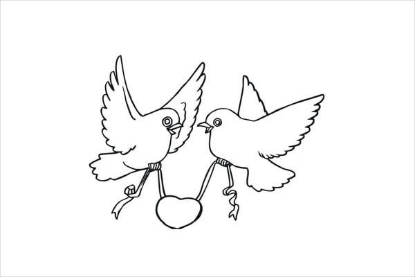 Valentine'S Day Love Birds Colouring Page