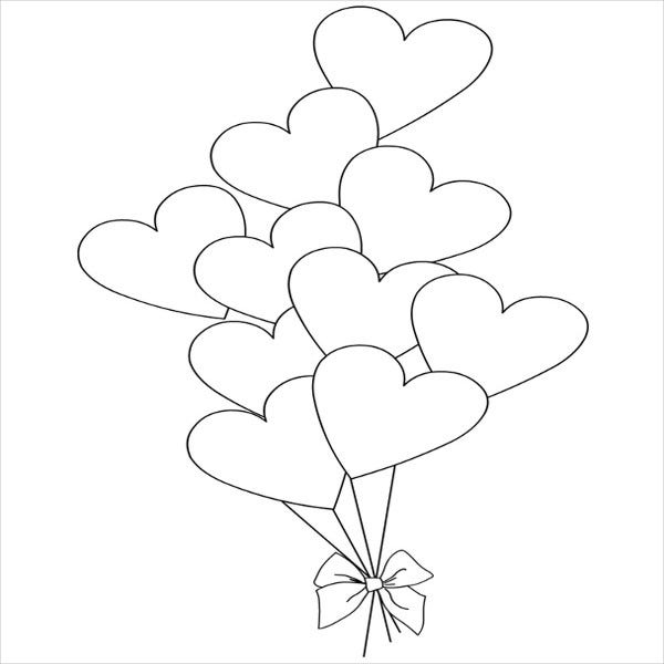 Valentine'S Day Balloon Colouring Page
