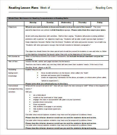 Weekly Lesson Plan Template   Free Word Pdf Documents Download