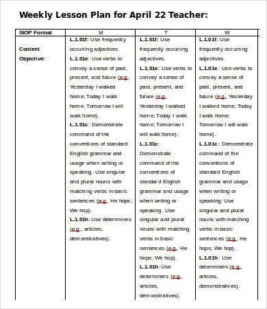 teacher weekly lesson plan template