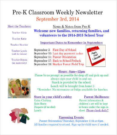 Classroom Newsletter Template Free Word PDF Documents Download - Daily newsletter template