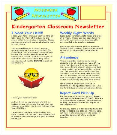 Kindergarten Classroom Newsletter Template