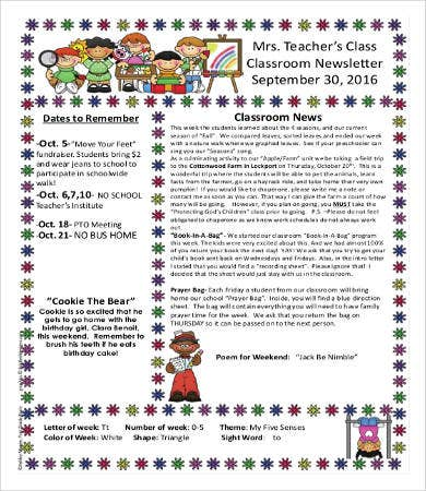 Classroom Newsletter Template   Free Word Pdf Documents Download