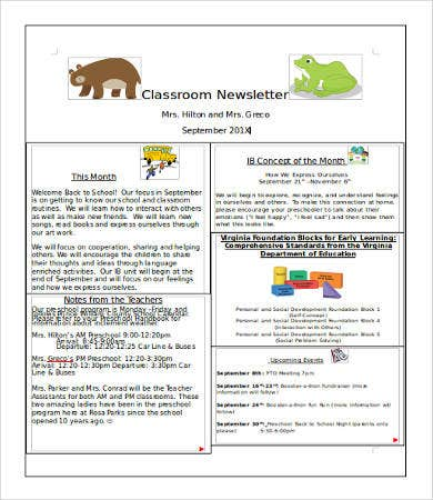 One Page Classroom Newsletter Template